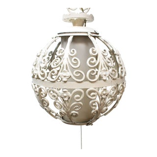 Antique Wrought Iron Pendant Light For Sale