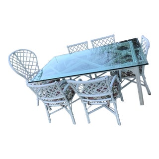 Hollywood Regency Henry Link Chinoiserie Rattan Glass Dining Table and Six Chairs Peacock Chair For Sale