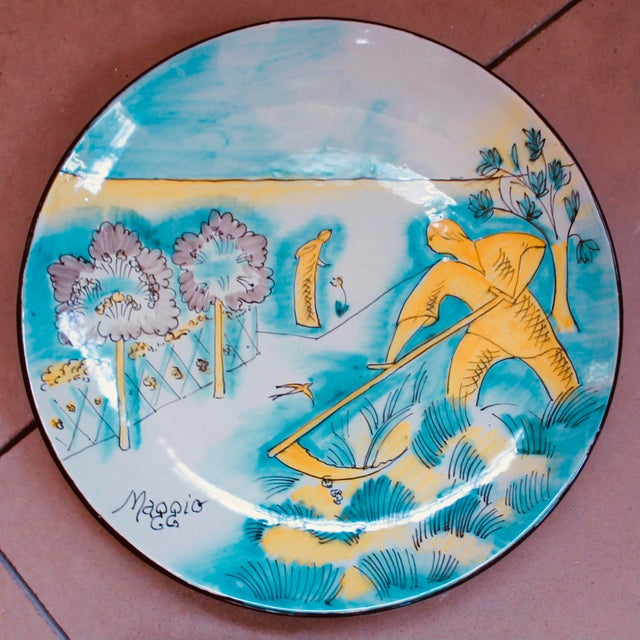 Set of 12 Italian Maiolica Dinner Plates, Painted With Country Life Scenes For Sale - Image 6 of 13