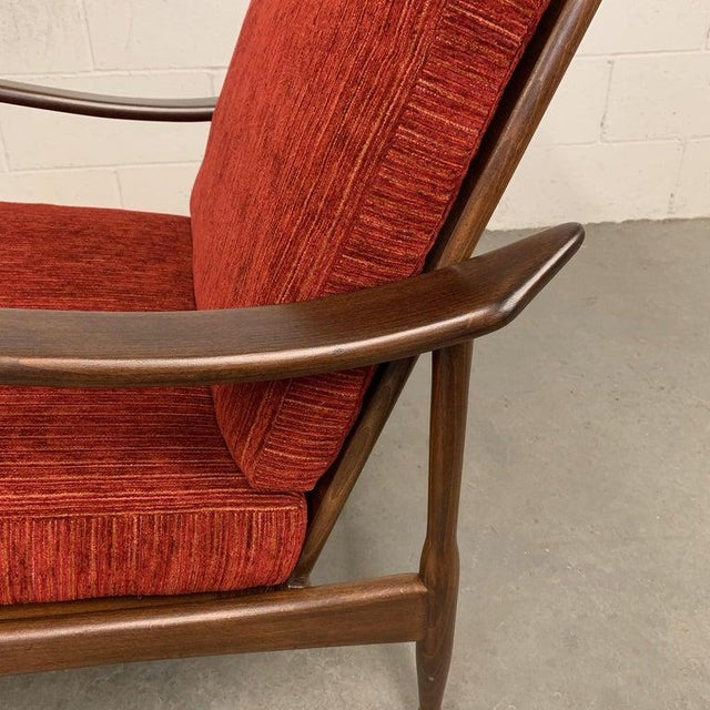 1960s Vintage Danish Modern High Back Maple Lounge Chair For Sale In New York - Image 6 of 8