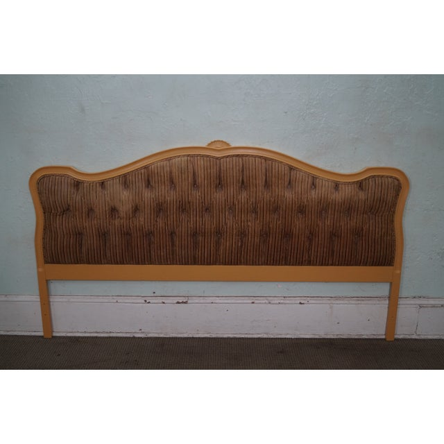 Store Item #: 14612 Vintage French Louis XV Style Tufted Upholstered King Headboard AGE/COUNTRY OF ORIGIN: Approx 50...