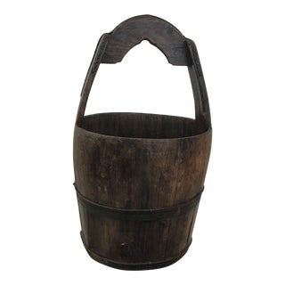 Antique Chinese Rustic Wood Water Bucket For Sale