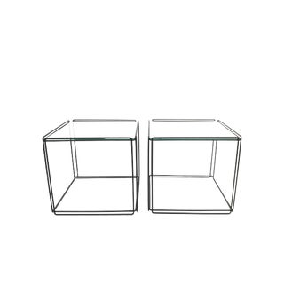 1960s Mid Century Max Sauze Isocele Wire and Glass Cube Side Tables - a Pair For Sale