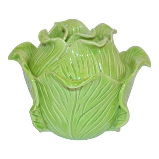 1960s Vintage French Jean Roger Cabbage Covered Dish For Sale