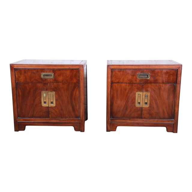 Drexel Heritage Hollywood Regency Campaign Burled Walnut Nightstands - a Pair For Sale