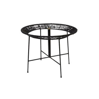 Round Wrought Iron and Raffia Dining Patio Table For Sale