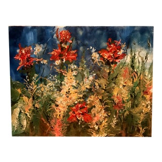 1980s Vintage Abstract Original Oil Still Life Floral Canvas Painting Art For Sale