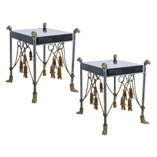 Maitland Smith Hollywood Regency Iron & Brass Tassel Table With Brass Lion Heads- a Pair For Sale