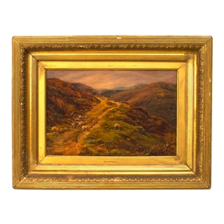 19th Century English Victorian Landscape of Sheep Painting For Sale