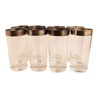 Dorothy Thorpe Silver Rimmed Tumblers - Set of 8 For Sale