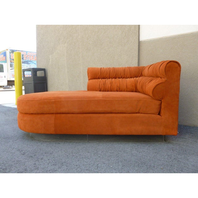 70's Mod Italian Suede and Lucite Chaise For Sale - Image 10 of 11