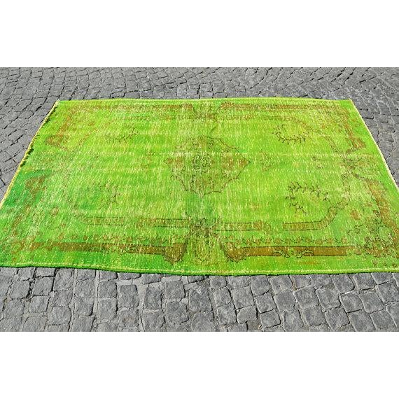 Vintage Green Overdyed Rug - 5′1″ × 8′1″ - Image 3 of 6