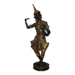 Thai Gilt Bronze Dancer Statue For Sale