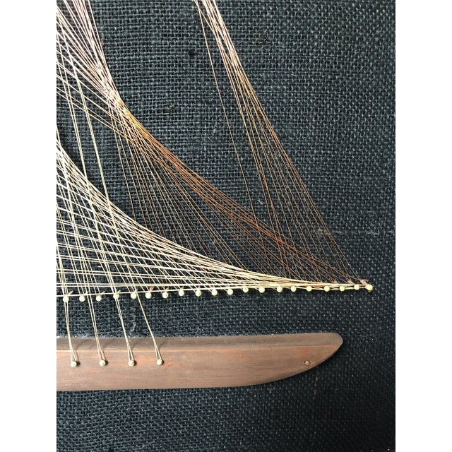 Black Mid-Century Sailboat Wire String Art For Sale - Image 8 of 12