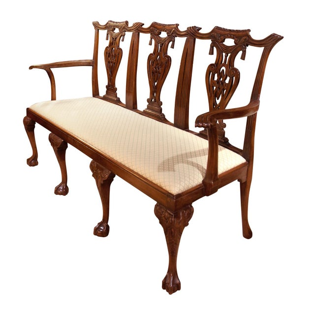 English Mahogany Sheraton Style Settee with cabriole legs. Beautifully carved. Circa 1900's.