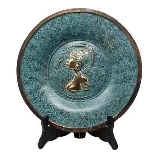 Florintine Green Patina Wall Accent Decorative 12' Plaque / Plate For Sale