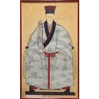 """Antique Chinese Ancestor Portrait Painting (24""""x40"""") of a Civil Service Court Official For Sale"""