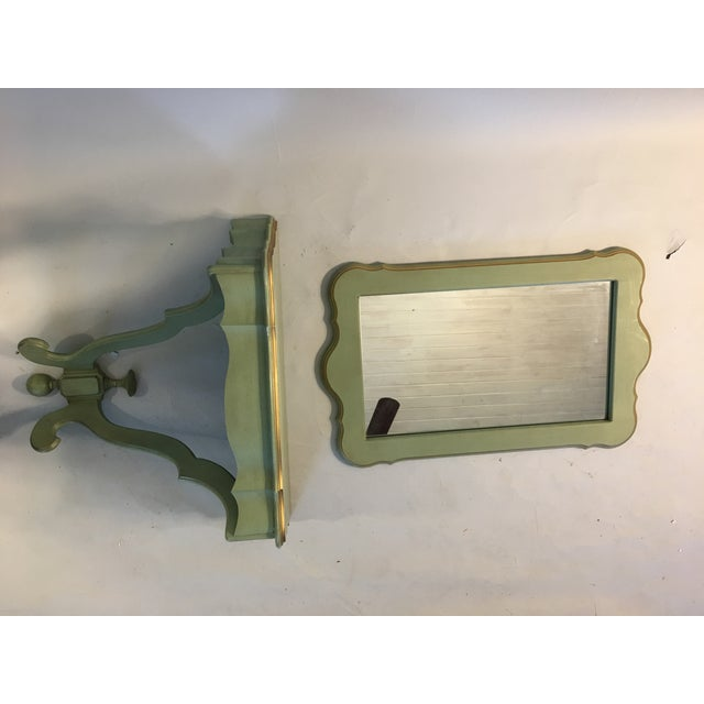 Shabby Mint Green Foyer Demilune Table Wall Shelf & Mirror - A Pair - Image 8 of 9