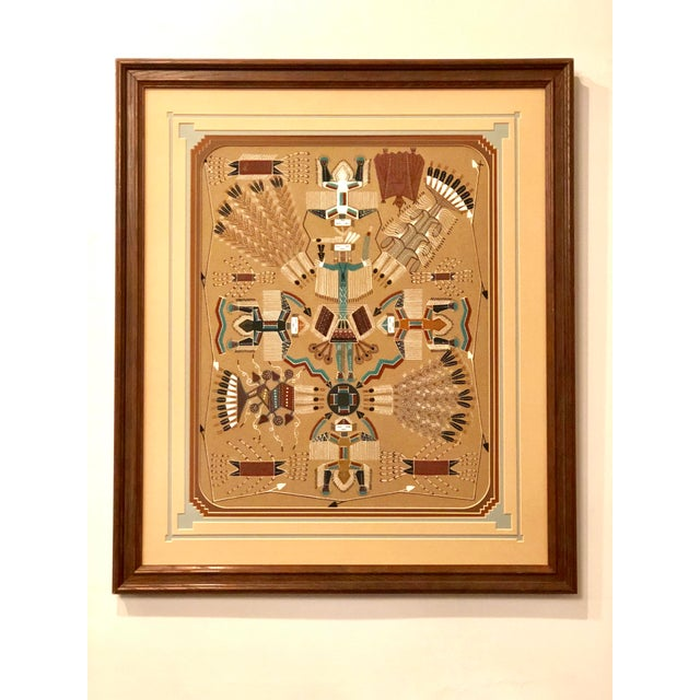 """Original sand art wall hanging by prolific Navajo artist Rosabelle Ben. Handmade in Shiprock, New Mexico. Titled """"Holy..."""