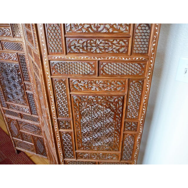 Rosewood Carved & Inlayed Rosewood Screen For Sale - Image 7 of 11