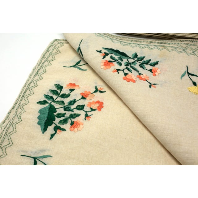 Blue Vintage Italian Embroidered Linen Napkins and Placemats - Set of 16 For Sale - Image 8 of 12