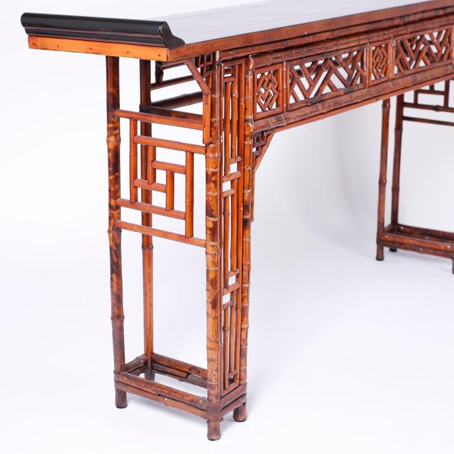 Mid 20th Century Bamboo Console Table For Sale - Image 5 of 10