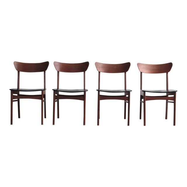 1960s Vintage Harry Ostergaard Style Dining Chairs - Set of 4 For Sale