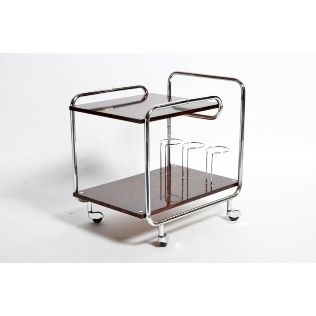 Mid-Century Modern Hungarian Chrome and Rosewood Bar Cart For Sale - Image 13 of 13