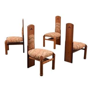 "Post Modern Jack Larimore Handmade ""Fallopian"" High Back Mahogany Dining Chairs - Set of 4 For Sale"