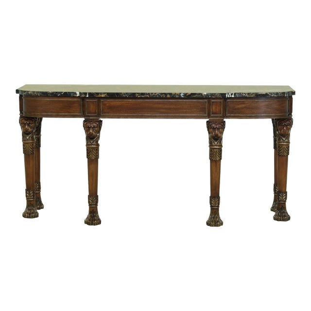 Henkel Harris Lion Head Carved Mahogany Marble Top Console Table For Sale