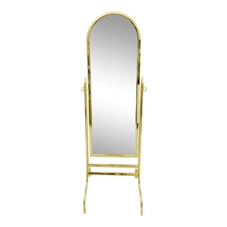 Vintage Lacquered Brass Standing Floor Mirror For Sale