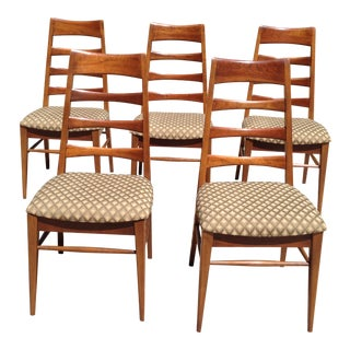 Heywood-Wakefield Mid-Century Danish Modern Ladder Back Chairs - Set of 5