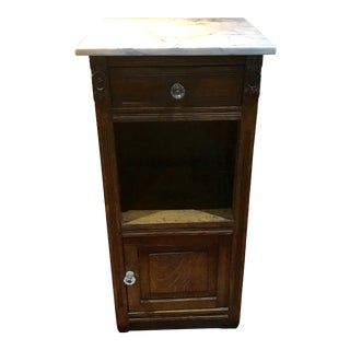 Antique Oak With Marble Top Pot Cupboard For Sale