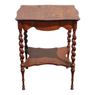 Antique French Country Barley Twist Oak Side Table For Sale