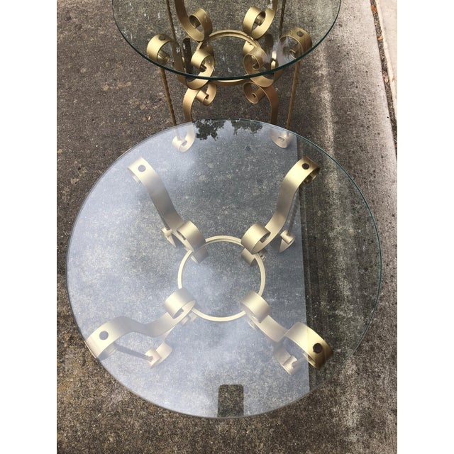 Gold Antique Gold Hollywood Regency Metal Tables - A Pair For Sale - Image 8 of 9
