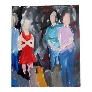 """""""Family Portrait"""" Contemporary Abstract Expressionist Style Figurative Acrylic Painting, Framed For Sale"""
