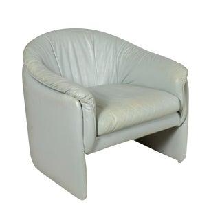 Mid-Century Modern Light Blue Leather Club Chair