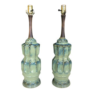 Mid Century Modern Glazed Ceramic Lamps - a Pair For Sale