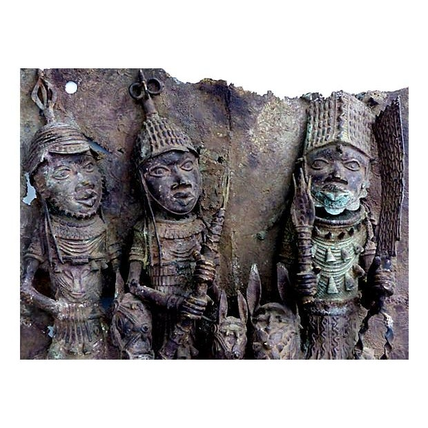 Large Antique African Bronze Relief - Image 2 of 10