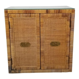 Palm Beach Tropical Campaign Style Rattan Nightstand For Sale