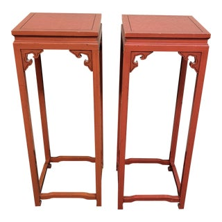 Vintage Asian Pedestal Side Tables - a Pair
