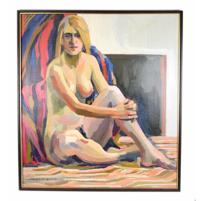"""Blue 1970s """"Nude Blonde Woman"""" Oil Painting by Lars Birger Sponberg For Sale - Image 8 of 8"""