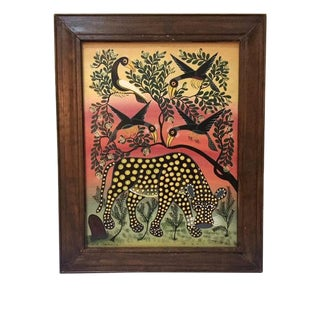 Vintage African Cheetah Oil on Canvas Painting For Sale