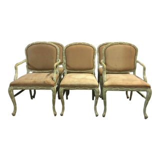 Vintage Regency Style Palm Frond Chairs - Set of 6 For Sale
