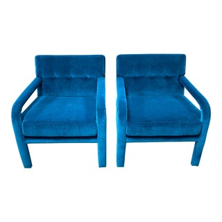 1980s Directional Tufted Velvet Chairs - a Pair For Sale