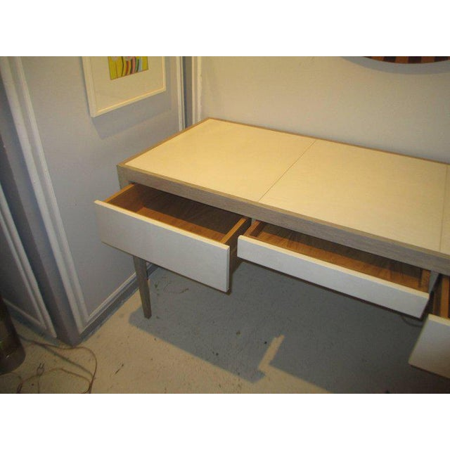 Custom Cerused Oak and Parchment Desk Featuring Three Central Drawers For Sale - Image 4 of 6