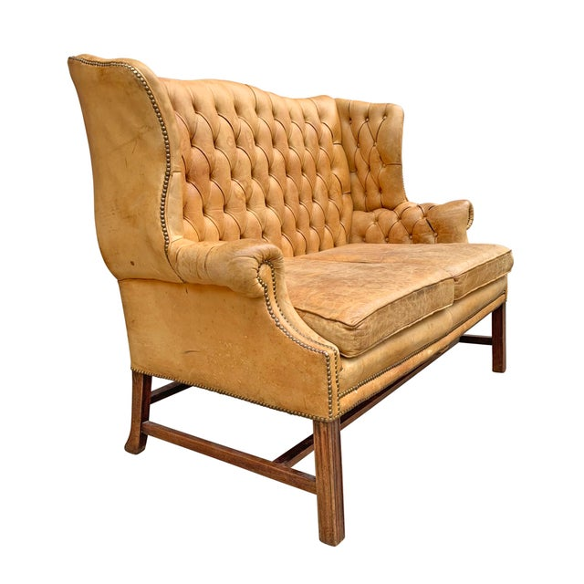 Chippendale 20th Century Vintage English Chippendale Style Wingback Settee For Sale - Image 3 of 13