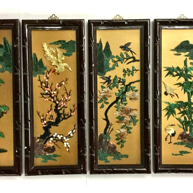 1960s Vintage Chinese Carved Stone Wall Panels - Set of 4 For Sale - Image 4 of 12
