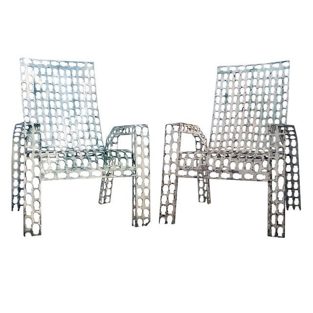 Silver 1970s Folk Art Pressed and Welded Steel Lounge Chairs - a Pair For Sale - Image 8 of 8