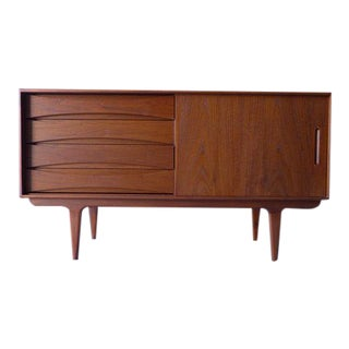 Apartment Sized Mid Century Modern Teak Credenza / Media Stand